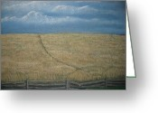 Split Rail Fence Painting Greeting Cards - Blue Ridge Mystery Greeting Card by Donna Sigmon