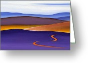 Award Winning Digital Art Greeting Cards - Blue Ridge Orange Mountains Sky and Road in Fall Greeting Card by Catherine Twomey
