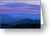 Cowee Greeting Cards - Blue Ridge Panorama at Dusk Greeting Card by Andrew Soundarajan