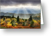 North Carolina Greeting Cards - Blue Ridge Parkway Light Rays - Enlightenment Greeting Card by Dave Allen