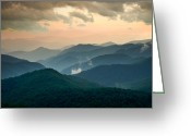 Cowee Greeting Cards - Blue Ridge Parkway NC - Evening Glow Greeting Card by Dave Allen