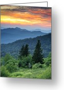 Smoky Mountains Greeting Cards - Blue Ridge Parkway NC Landscape - Fire in the Mountains Greeting Card by Dave Allen