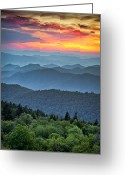 "\""sunset Photography\\\"" Greeting Cards - Blue Ridge Parkway Sunset - The Great Blue Yonder Greeting Card by Dave Allen"