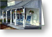 Rocking Chairs Greeting Cards - Blue Rockers Greeting Card by Paul Gardner