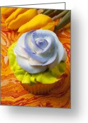 Cup Photo Greeting Cards - Blue rose cup cake Greeting Card by Garry Gay