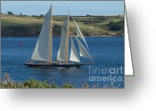 Cornwall Greeting Cards - Blue Schooner 02 Greeting Card by Brian Roscorla