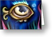 Surreal Art Painting Greeting Cards - Blue Sea Greeting Card by  Abril Andrade Griffith