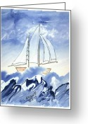 Storm Prints Mixed Media Greeting Cards - Blue Sea and Sail Greeting Card by B L Qualls