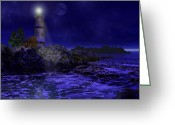 Blue Moon Greeting Cards - Blue Serenity Greeting Card by Lourry Legarde