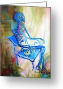 Lilies Flowers Greeting Cards - Blue Skeleton Chair Greeting Card by Heather Calderon