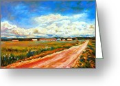 Autumn In The Country Greeting Cards - Blue Skies Quebec Landscape Painting Road To The Little Village  Greeting Card by Carole Spandau