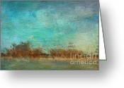 Impressionist Mixed Media Greeting Cards - Blue Sky and Beach Greeting Card by Deborah Benoit