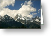 Snow Capped Digital Art Greeting Cards - Blue Sky and Mountains Greeting Card by Amanda Kiplinger