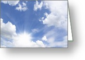 Cumulus Greeting Cards - Blue Sky And Sun Ray Greeting Card by Setsiri Silapasuwanchai