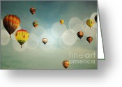 Balloon Fiesta Greeting Cards - Blue Sky Balloon Light Greeting Card by Andrea Hazel Ihlefeld