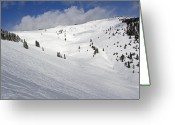 Winter Sports Photo Greeting Cards - Blue Sky Basin at Vail Colorado Greeting Card by Brendan Reals