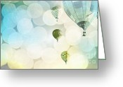 Boy Room Art Greeting Cards - Blue Sky Bokeh Balloons Greeting Card by Andrea Hazel Ihlefeld