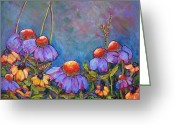 Impressionism Greeting Cards - Blue Sky Flowers Greeting Card by Blenda Tyvoll
