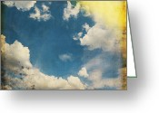 Burnt Greeting Cards - Blue Sky On Old Grunge Paper Greeting Card by Setsiri Silapasuwanchai