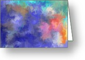 Sea Flowers Greeting Cards - Blue Sky Painting Greeting Card by Don  Wright