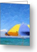 Beach Umbrella Painting Greeting Cards - Blue Sky Greeting Card by Tilly Williams