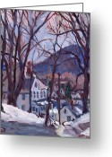 Western Massachusetts Greeting Cards - Blue Snow Greeting Card by Thor Wickstrom