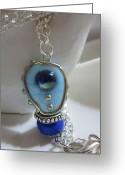 Silver Jewelry Greeting Cards - Blue Space Necklace Greeting Card by Janet  Telander