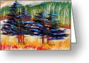 Woods Pastels Greeting Cards - Blue Spruce Stand Greeting Card by John  Williams