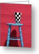 Checkered Greeting Cards - Blue stool Greeting Card by Garry Gay