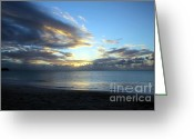 Tropical Island Greeting Cards - Blue Sunset Greeting Card by Sophie Vigneault