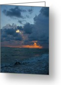Gloaming Greeting Cards - Blue Sunset Greeting Card by T C Creations