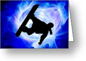 Snow Boarding Greeting Cards - Blue Swirl Snowstorm Greeting Card by Elaine Plesser
