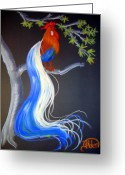 Fantasy Bird Pastels Greeting Cards - Blue Tail Fantasy Greeting Card by Jo Hoden