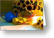 Lipton Greeting Cards - Blue Teapot With Lemon Greeting Card by Diana  Tyson
