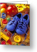 Button Greeting Cards - Blue tennis shoes Greeting Card by Garry Gay