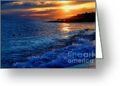 New England Seascape Greeting Cards - Blue Tides Greeting Card by Joann Vitali