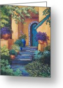 Tile Greeting Cards - Blue Tile Steps Greeting Card by Candy Mayer
