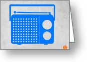 Boom Greeting Cards - Blue transistor radio Greeting Card by Irina  March