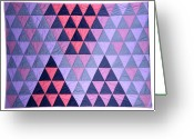Wall Art Tapestries - Textiles Greeting Cards - Blue Triangles Greeting Card by Mildred Thibodeaux
