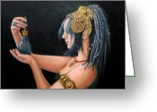 Belly Dance Greeting Cards - Blue Tribe Greeting Card by Enzie Shahmiri