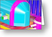 Original Art Greeting Cards - Blue Tube Greeting Card by Buddy Paul