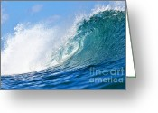 Surf Photography Greeting Cards - Blue Tube Wave Greeting Card by Paul Topp