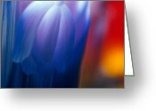 Tulips Glass Art Greeting Cards - Blue Tulip Greeting Card by Etti Palitz