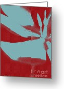 Artography Greeting Cards - Blue Tulip Pop Art Abstract Floral Greeting Card by Jayne Logan