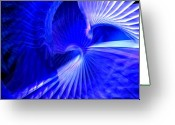 Cinema 4d Greeting Cards - Blue tunnel Greeting Card by Libor Bednarik