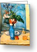 Pitcher Greeting Cards - Blue Vase by Paul Cezanne Greeting Card by Pg Reproductions