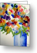 Vases Greeting Cards - Blue Vase Greeting Card by Jamie Frier