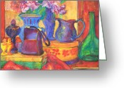 Pitcher Painting Greeting Cards - Blue Velvet Greeting Card by Blenda Tyvoll