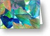 Blue Leaves Greeting Cards - Blue Velvet Greeting Card by Bobby Villapando