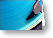 Revival Greeting Cards - Blue Vinyl Record Greeting Card by Erik T Witsoe